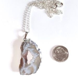 Druzy Agate Silver Painted Necklace